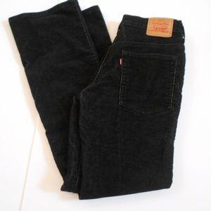 Levi's 517 Bootcut Black Corduroy Pants Size 9